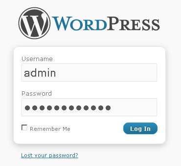 Панель входа wordpress