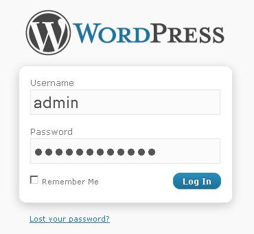 Панель входа wordpress