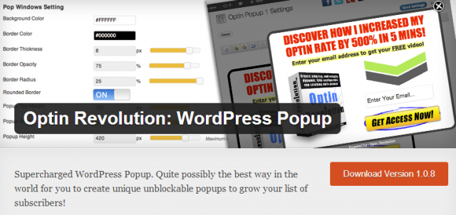 Option revolution: WordPress Popup