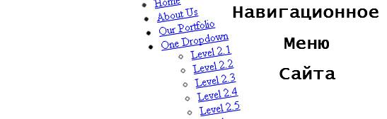 Навигационное меню сайта