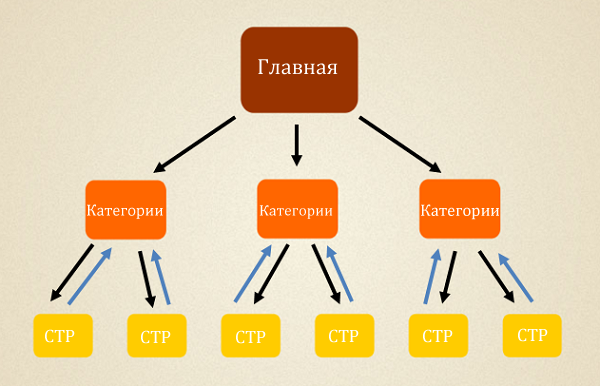 Схема перелинковки сайта для категорий под средне частотные запросы