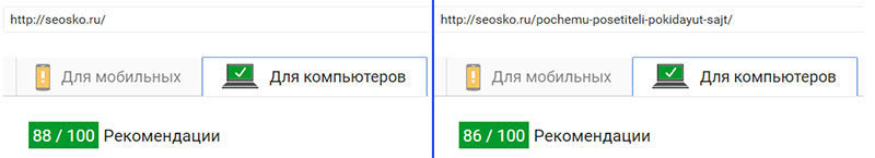 Результат Google Page Speed